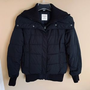 Old Navy Black Puffer Winter Bomber Jacket